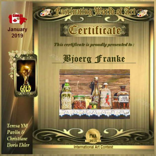 My artpiece ''The old pantry'' is one of the »Gold Awards« January 2019